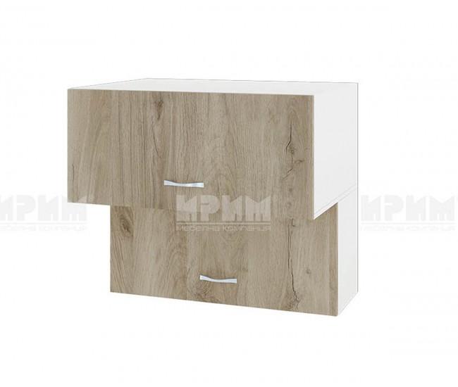 Горен кухненски шкаф Сити БДА-107 с хоризонтални врати - 80 см. - сонома арвен/бяло гладко