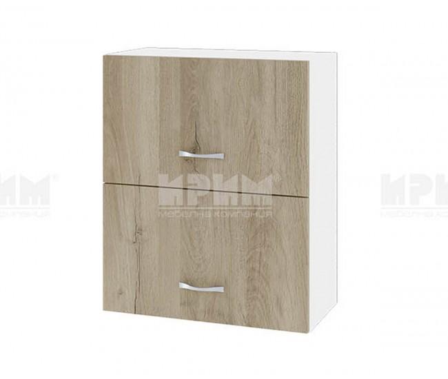 Горен кухненски шкаф Сити БДА-11 с хоризонтални врати - 60 см. - сонома арвен/бяло гладко