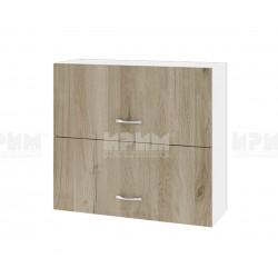 Горен кухненски шкаф Сити БДА-12 с хоризонтални врати - 80 см. - сонома арвен/бяло гладко