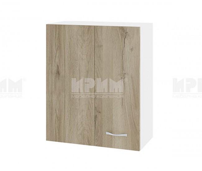 Горен кухненски шкаф Сити БДА-17 с врата за ъгъл - 60 см. - сонома арвен/бяло гладко