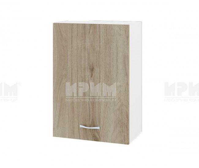 Горен кухненски шкаф Сити БДА-18 с врата и рафт - 50 см. - сонома арвен/бяло гладко