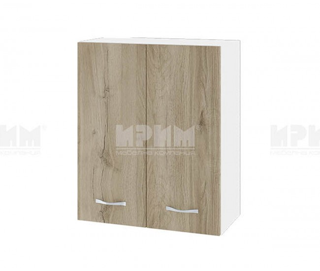Горен кухненски шкаф Сити БДА-3 с две врати - 60 см. - сонома арвен/бяло гладко