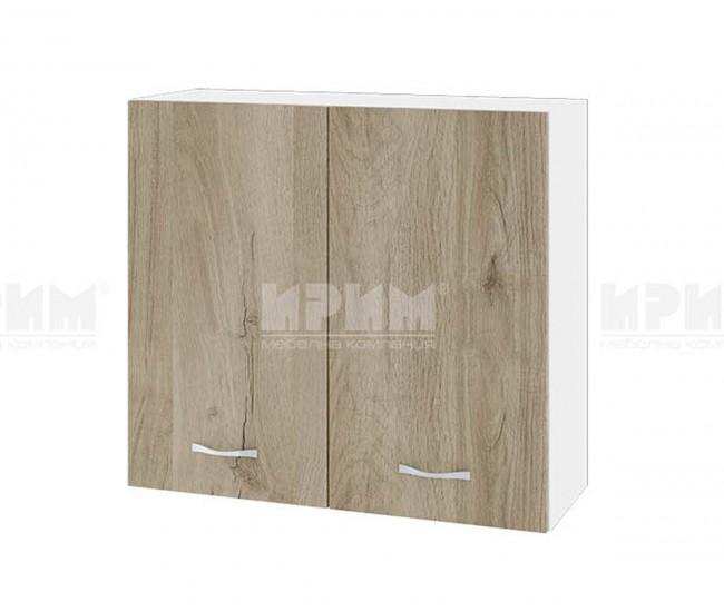 Горен кухненски шкаф Сити БДА-4 с две врати - 80 см. - сонома арвен/бяло гладко