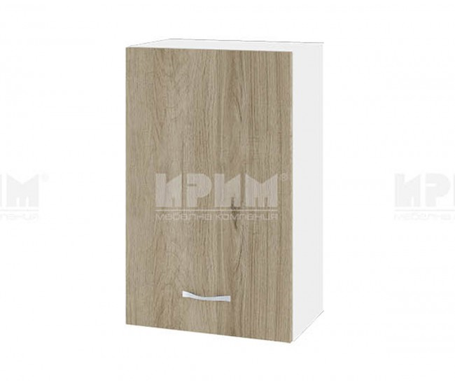 Горен кухненски шкаф Сити БДА-6 с врата и рафт - 45 см. - сонома арвен/бяло гладко