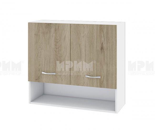 Горен кухненски шкаф Сити БДА-8 с две врати - 80 см. - сонома арвен/бяло гладко