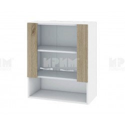 Горен кухненски шкаф Сити БДА-9 с витринни врати - 60 см. - сонома арвен/бяло гладко