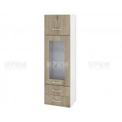 Сити БДА-101 - кухненски шкаф с витрина, чекмеджета и повдигаща врата - 40 см. - сонома арвен/бяло гладко
