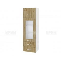 Сити БДД - 101 - шкаф с витрина, чекмеджета и повдигаща врата - 40 см.