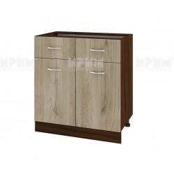 Долен кухненски шкаф Сити ВДА-26 с две врати и чекмеджета - 80 см. - сонома арвен/венге