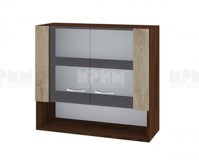 Горен кухненски шкаф Сити ВДА-10 с витринни врати - 80 см. - сонома арвен/венге