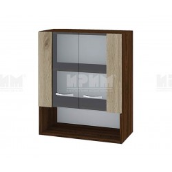 Горен кухненски шкаф Сити ВДА-9 с витринни врати - 60 см. - сонома арвен/венге