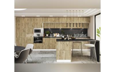 Готова кухня с остров Сити 980 - Дъб дакота - с цели термоплотове