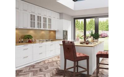 Готова кухня с остров Сити 970 - МДФ Бяло фладер - с цели термоплотове
