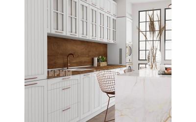 Готова кухня Сити 972 - МДФ Бяло фладер - 440 см. - с цял термоплот