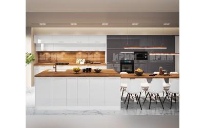 Готова кухня с остров Сити 964 - МДФ Бяло гланц/Антрацит гланц - с цели термоплотове