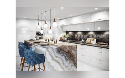 Готова кухня Сити 961 - МДФ Бяло гланц - с цял термоплот