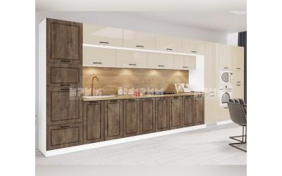 Готова кухня Сити 969 - МДФ Бежово гланц/Дъб натурал - 560 см. - с цял термоплот