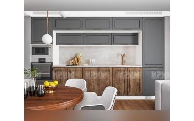 Готова кухня Сити 960 - МДФ Цимент мат/Дъб натурал - 360 см. - с цял термоплот