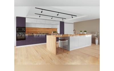 Готова кухня с остров Сити 965 - МДФ Бяло гланц/Лилаво мат - с цели термоплотове