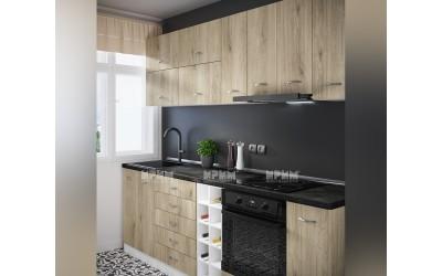 Готова кухня Сити 977 - Сонома арвен - 242 см. - с цял термоплот