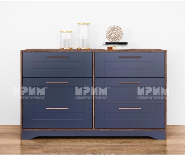 Скрин с шест чекмеджета Frenchy - МДФ Wave blue/Олд стайл - 130 см.