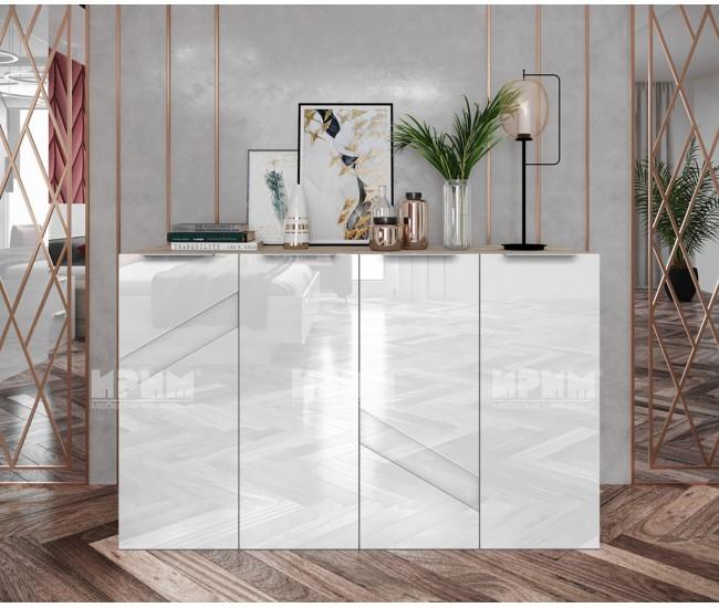 Скрин с четири вратички Ultra - МДФ Бяло гланц/Сонома арвен - 130 см.