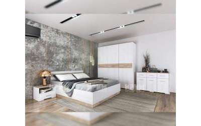 Спален комплект City 7053 - Бяло фладер/ Сонома арвен 629