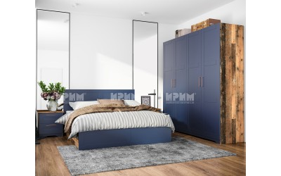Обзавеждане за спалня Frenchy - МДФ Wave blue/Олд стайл - 160/200 см.