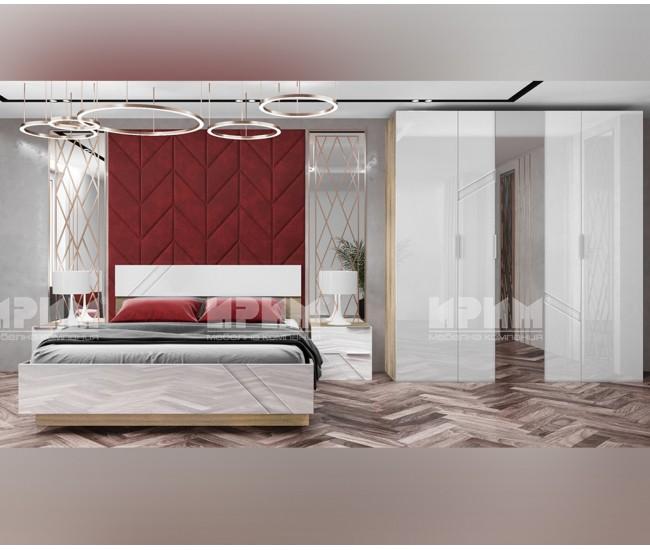 Обзавеждане за спалня Ultra - МДФ Бяло гланц/Сонома арвен - 160/200 см.