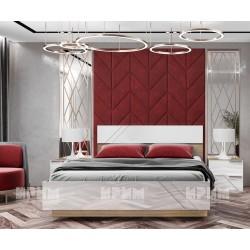 Легло с нощни шкафчета Ultra - МДФ Бяло гланц/Сонома арвен - 160/200 см.