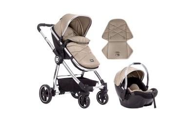 Комбинирана детска количка 3 в 1 Allure Beige silver chrome 2020 - бежово - Kikkaboo