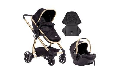 Комбинирана детска количка 3 в 1 Allure Black gold chrome 2020 - черна - Kikkaboo