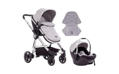 Комбинирана детска количка 3 в 1 Allure Grey silver chrome 2020 - сива - Kikkaboo