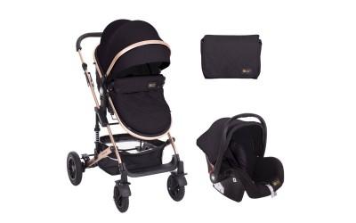 Комбинирана детска количка 3 в 1 с трансформираща седалка Amaia All Black - черно - Kikkaboo
