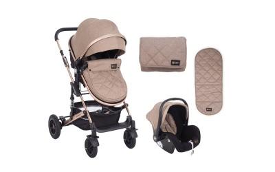 Комбинирана детска количка 3 в 1 с трансформираща седалка Amaia Beige - бежово - Kikkaboo
