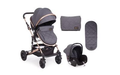 Комбинирана детска количка 3 в 1 с трансформираща седалка Amaia Black (Dark Grey) - тъмно сиво - Kikkaboo