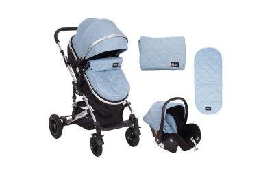 Комбинирана детска количка 3 в 1 с трансформираща седалка Amaia Blue - светло синя - Kikkaboo