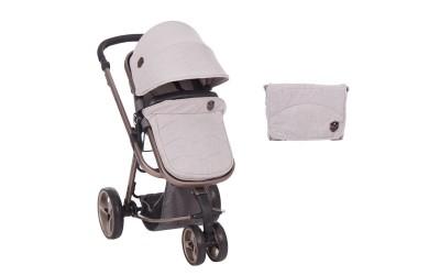 Комбинирана детска количка с трансформираща седалка 2 в 1 Amica Grey - светло сив - Kikkaboo