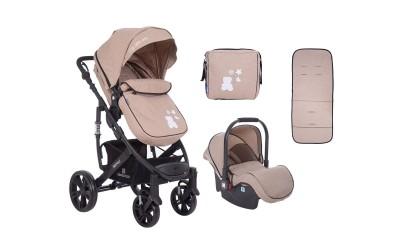Комбинирана детска количка 3 в 1 с трансформираща седалка Beloved Beige - бежово - Kikkaboo