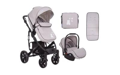 Комбинирана детска количка 3 в 1 с трансформираща седалка Beloved Light Grey - светло сива - Kikkaboo