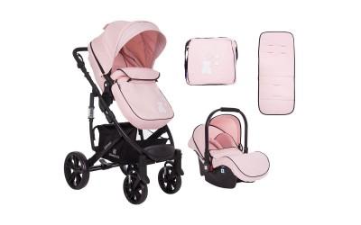 Комбинирана детска количка 3 в 1 с трансформираща седалка Beloved Light Pink - светло розова - Kikkaboo