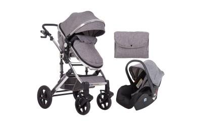 Комбинирана детска количка 3 в 1 с трансформираща седалка Darling Dark Grey 2020 - тъмно сива - Kikkaboo