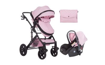 Комбинирана детска количка 3 в 1 с трансформираща седалка Darling Pink 2020 - розово - Kikkaboo
