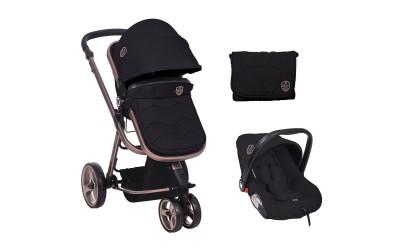 Комбинирана детска количка 3 в 1 с трансформираща седалка Amica Black - черен - Kikkaboo