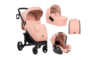Комбинирана детска количка 3 в 1 Madrid Pink Melange 2020 - розов меланж - Kikkaboo