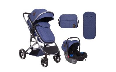 Комбинирана детска количка 3 в 1 с трансформираща седалка Tiara Dark Blue - тъмно син - Kikkaboo