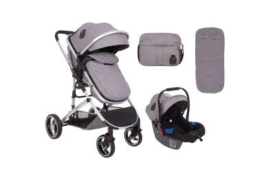 Комбинирана детска количка 3 в 1 с трансформираща седалка Tiara Grey - сив - Kikkaboo