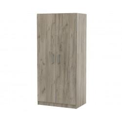 Двукрилен гардероб Топ 2Б с лост и рафтове - Дъб крафт Сиво