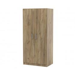 Двукрилен гардероб Топ 2Б с лост и рафтове - Дъб крафт Златен