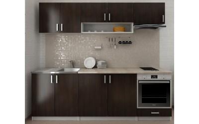 Готова модулна права кухня Кети с термоплот - 240 см. - венге/бяло